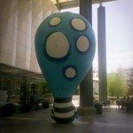 Tim Burton blow up scultpure in LACMA lobby